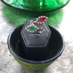 Ruby & Emerald ring with Australian Swarovski